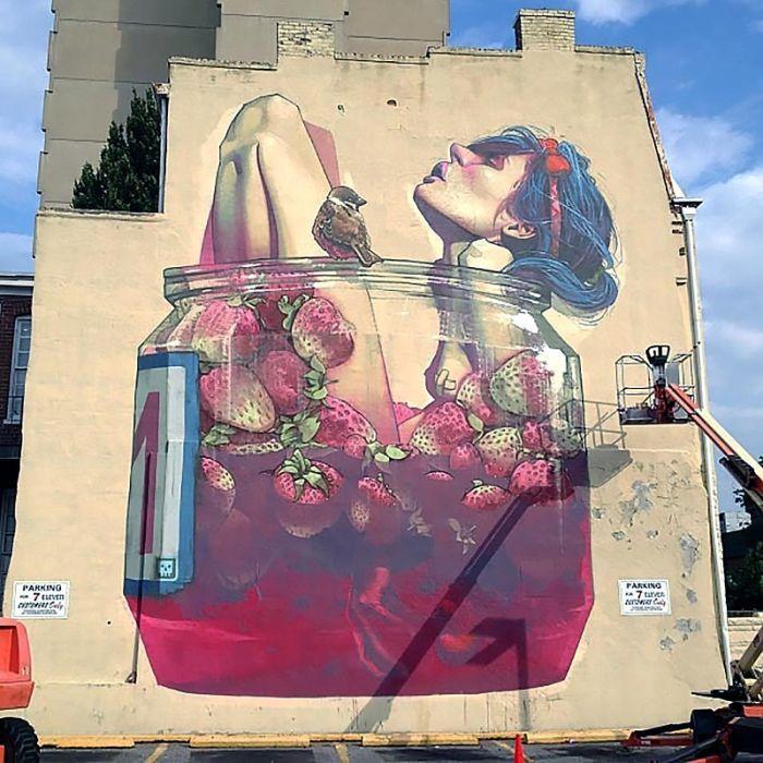 Бесплатный фотоприкол девушка, дом, на стене, рисунок