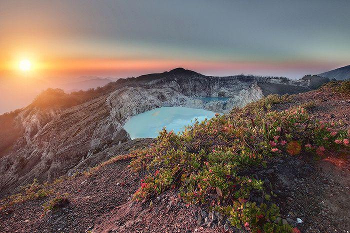 индонезия, кратер, вулкан, озера