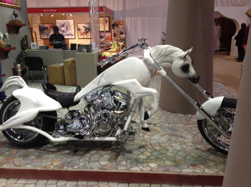 Фото прикол конь, крутой, лошадь, мотоцикл