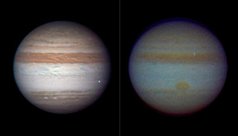 Яркая точка на каждом из этих снимков означает небольшую комету или астероид, горящий в атмосфере. Фото слева было сделано 3 июня астрономом-любителем Энтони Уизли в Броккен Хилле, Автсралия. Он сделал этот снимок с помощью 37-сантиметрового телескопа. На снимке Уизли цвета сборные. Метеор виден справа. Цветной снимок справа был сделан астрономом-любителем Масаюки Тачикавой из Японии 20 августа. Метеор можно увидеть также справа вверху. (REUTERS/NASA)