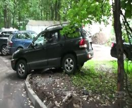 Парень учит девушку парковаться на газоне