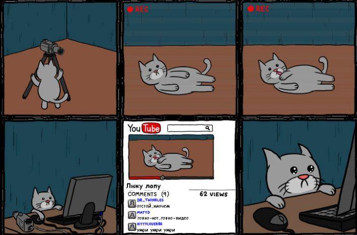 Прикольный комикс про кота (3 фото)
