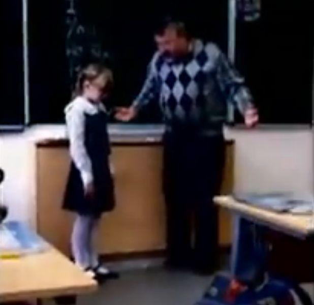 Строгий учитель отхватил от маленькой девочки (видео + гифка)