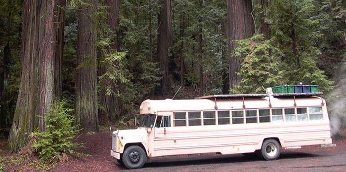 Уютный домик из школьного автобуса (8 фото)