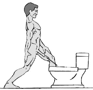 Выпад<br> Если этим утром ваш деревянный инструмент расположен под нисходящим углом – вы счастливчик. Все что вам необходимо – это сделать выпад вперед так, <br> что струя попадет точно в унитаз. Просто! По мере ослабевания напора, вам возможно придется сделать выпад глубже чтобы избежать попадания на пол.