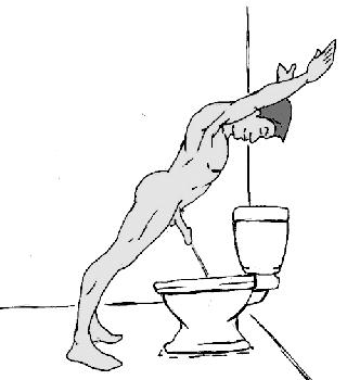 Перекладина<br> Еще одно упражнение для тех парней, которые показывают по утрам четко вперед или немного вниз. Встаньте за полметра до унитаза и наклонитесь вперед <br> всем телом. Упритесь руками в стену. Прицельтесь… начинайте, и держите спину прямой. Эта позиция также укрепляет ваш пресс и центральные мышцы.