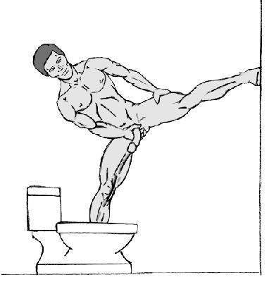 Нога наверх<br> Нет ничего необычного, когда эрекция с утра заставляет ваш инструмент смотреть то в одну сторону, то в другую. Если ваш поступает таким же образом, <br> вам нужно компенсировать наклон соответственно. Используйте стены ванной комнаты для поддержания равновесия, поскольку вы будете балансировать на <br> одной ноге в наклонном положении. Приняв позу, убедитесь, что ваш якорь смотрит по направлению своего белоснежного лайнера и начинайте писать. <br> Возможно, вы захотите установить специальные настенные рукоятки, если собираетесь делать это регулярно.