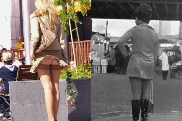 в деушкы поднялась юбка