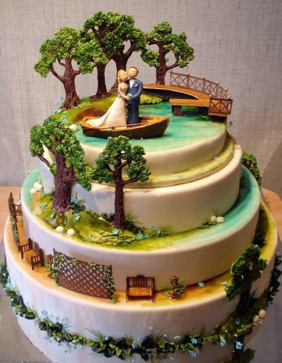 Необычные и очень красивые свадебные торты (31 фото) .