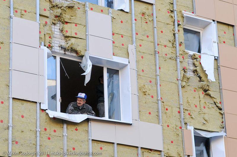 Обрушение строительных лесов в Зеленограде (29 фото)