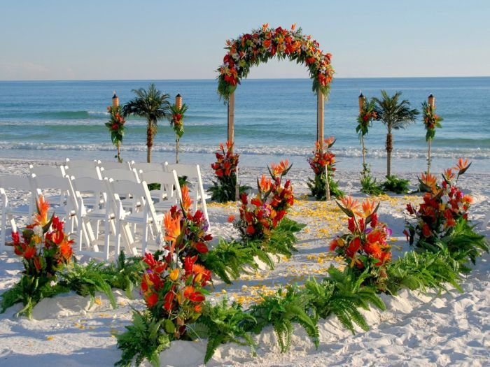 Красивое оформление пляжей на свадьбу (28 фото)