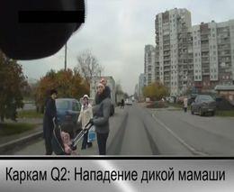 Мамаша с коляской напала на водителя
