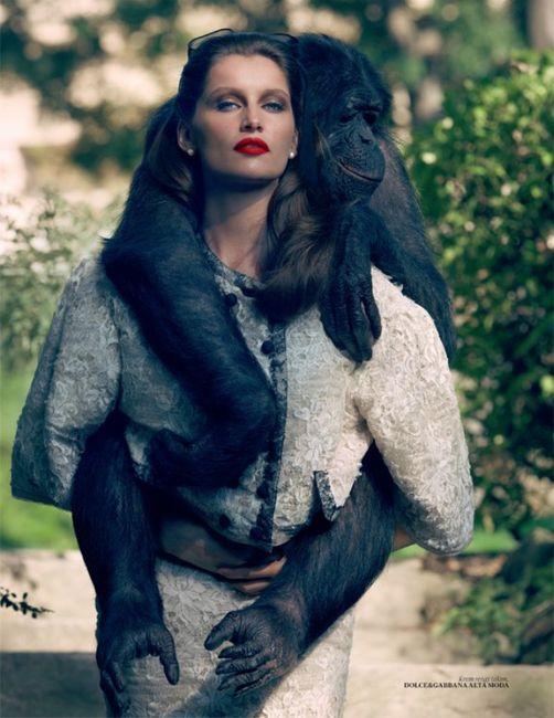 Летиция Каста с обезьянкой (4 фото)