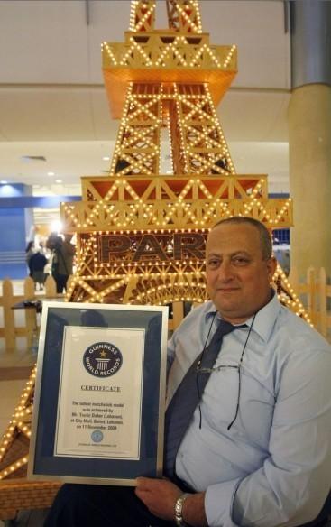 Инвалид-колясочник Туфик Дахер (Tufiq Daher) сделал самую высокую Эйфелеву башню из спичек. Он потратил 11 тысяч долларов. Башня достигает высоты в 6.53 м с основанием в 190 на 190 см, на нее ушло 6 миллионов спичек, 6240 лампочек и 23 мигающих лампочки