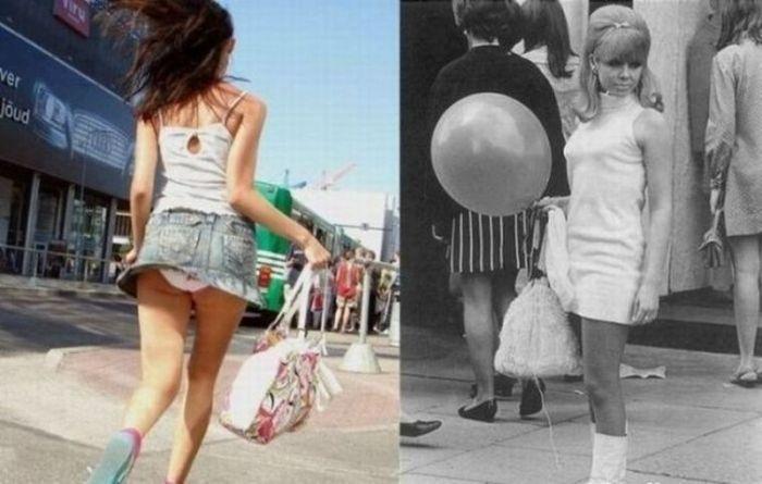 Длина юбок тогда и сейчас (18 фото)