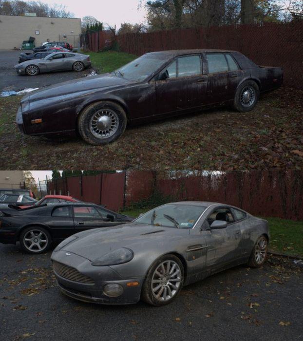 Как выглядят два Aston Martin после урагана Сэнди (4 фото))