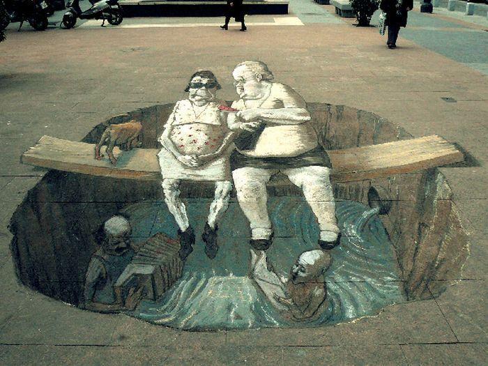 Отличные 3D-рисунки на асфальте и на стенах. (30 фото)