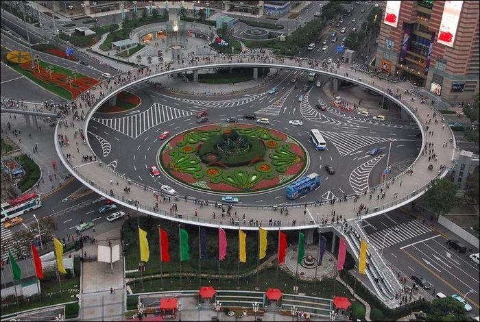 китай, мост, шанхай, пешеходный мост