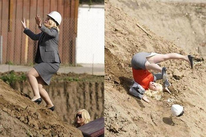 Юмор девушка, падение, стройка