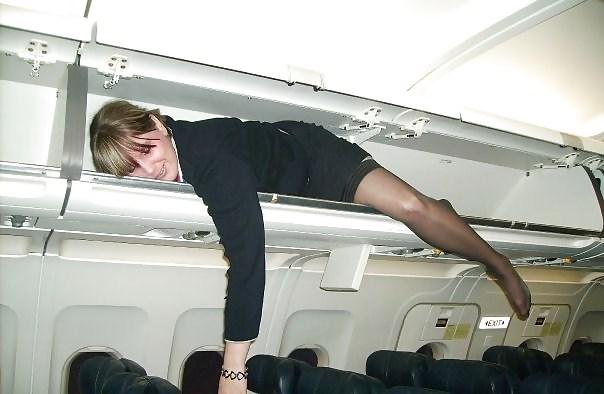 стюардесса, самолет, небо, авиация