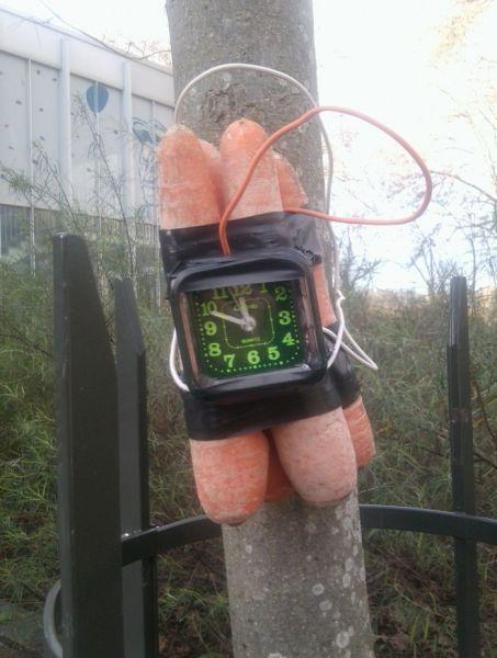 Смешной фотоприкол бомба, взрывчатка, морковь, муляж, прикол, таймер, часы