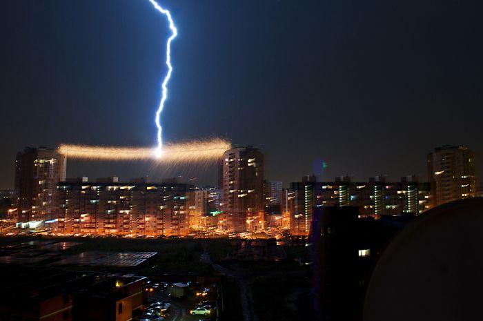Новый фотоприкол город, крутая фотография, молния, провода, удар молнии, электричество