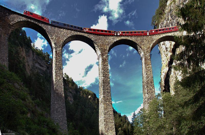 железная дорога, швейцария, мост, строение, поезд