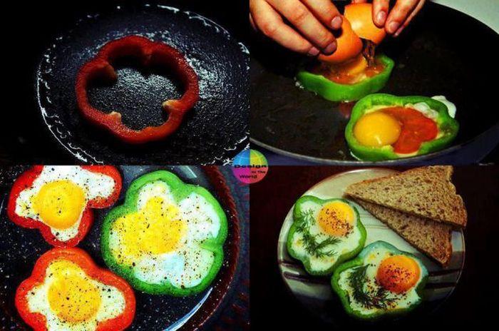 Яркие фото готовка еды, завтрак, красиво, перец, прикольная картинка, яичница