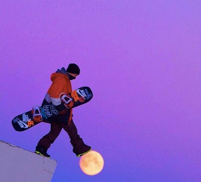 Фотоподборка крутая фотография, луна, обрыв, сноубордист, спортсмен