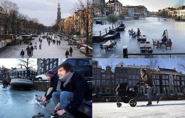 голландия, канал, река, замерзло, коньки, катаются