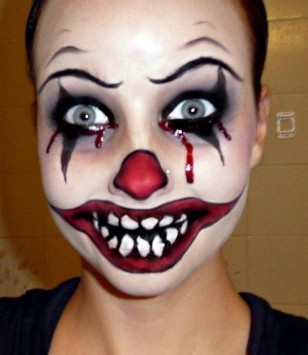 Шикарное фото девушка, жесть, клоун, лицо, макияж, накрасилась, ужас